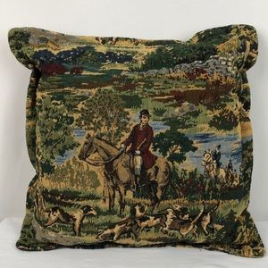 Fox Hunting Tapestry Decorative Pillow Handmade